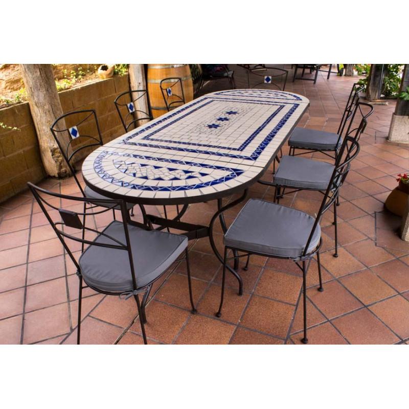 Muebles de Jardin Sillas exterior + Regalo Mesa de jardín rectangular de mosaico craquelado con consolas