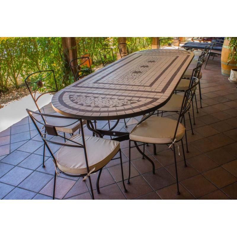 Muebles de Jardin Sillas exterior + Regalo Mesa de jardín rectangular en cerámica con consolas
