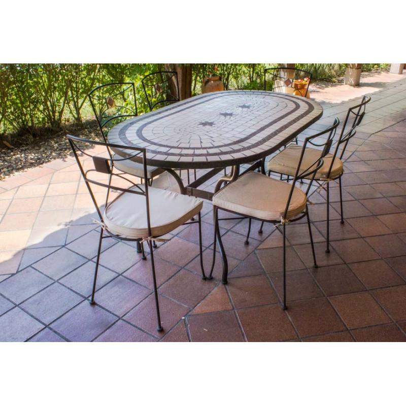 Chollos Muebles de Jardín Sillas exterior + Regalo Mesa de jardín Ovalada de mosaico craquelado