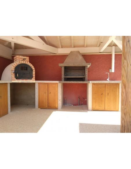 Barbacoa refrectaria y horno de leña