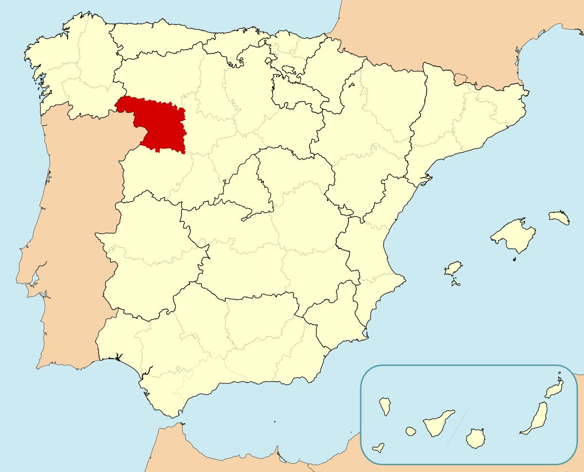 Mapa de situacion de la provincia de Zamora en España