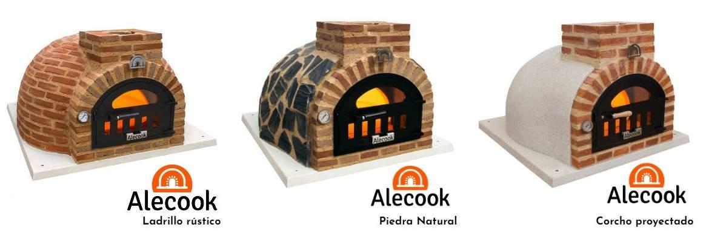 Horno de leña Alecook con acabado exterior de ladrillo rústico