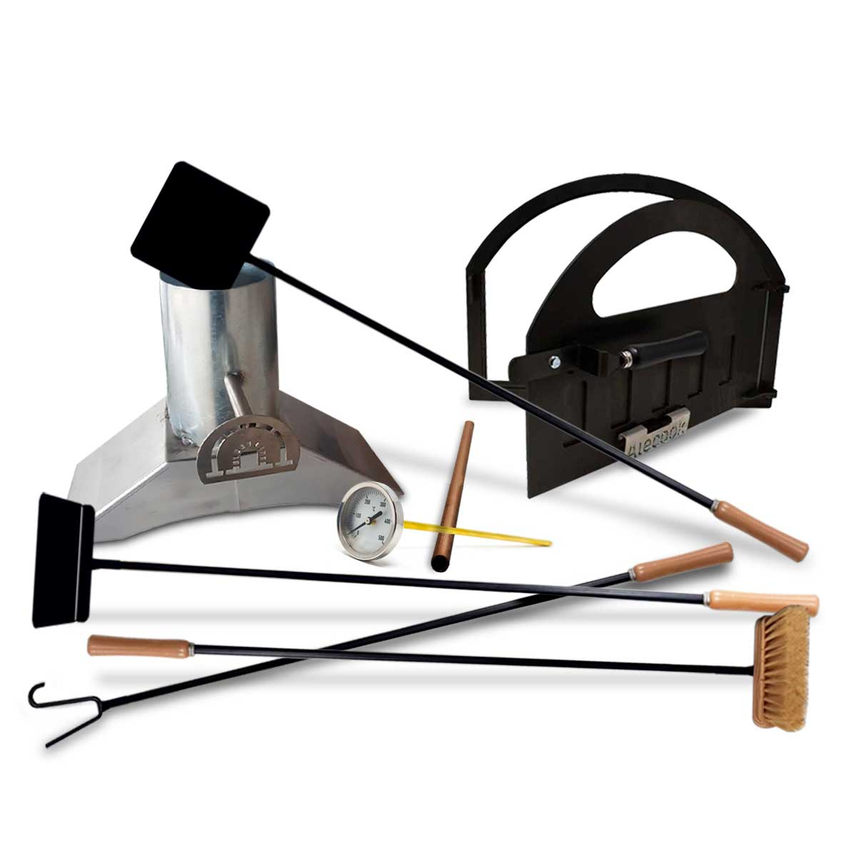 lote con puerta, tiro y pirómetro para hacer un horno de leña